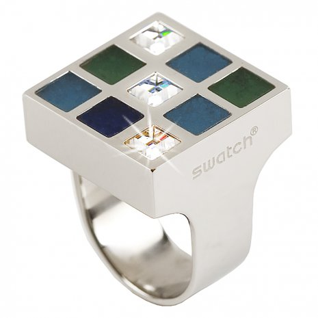 Swatch Bijoux Prismatic Blue And Crystals Ring Anéis