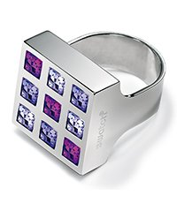 JRV005-5 Prismatic Purple Crystals Ring